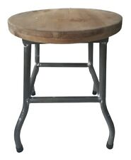 Industrial Style Handmade Stool With Wooden Seat Strong Metal Legs Rubber Feet