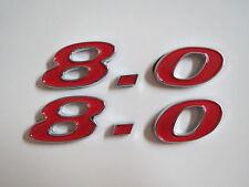 DODGE 8.0 8.0L V10 RAM DIESEL ENGINE ID HOOD SCOOP FENDER EMBLEMS - RED