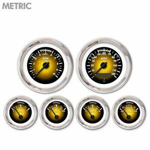 6 Gauge Set Speedo Tacho Oil Temp Fuel Volt Pulsar Amber Black Chrome LED Metric