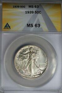 1939  .50   ANACS  MS 63  Walking Liberty, Half Dollar, Lady Liberty Half