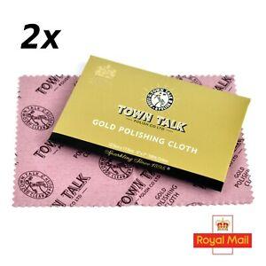 2 x Original Town Talk Polishing Cloth for Gold Platinum Jewellery, Watches