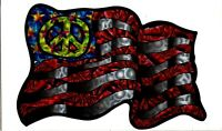 Vintage 1998 Psychedelic PEACE AMERICAN FLAG Vending Machine Prism Sticker