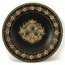 Vintage Hand Painted Floral Toleware Wood Wooden Plate Germany Russia (#2)