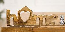 Deko HOME Mangoholz Schriftzug Holz Natur Tisch Buchstaben 25 cm braun