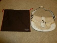 Coach Signature Cream White Leather Hobo Bag Purse D04J-6808 w/ Dust Cover
