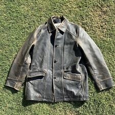 Leather Jacket Vtg Distress Antique Gray Urban Cowboy Western Button Sz Large