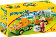 Playmobil 1.2.3 - 70182 Vehículo del Zoo con Rinoceronte - Nuevo