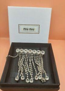 MIU MIU Platinum Tone Kristall verziert Anhänger Hairclip