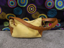 Fossil Yellow Fabric Shoulder Bag w/Leather Trim