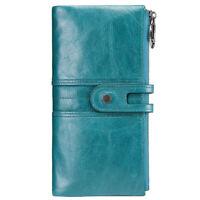 Women's Genuine Leather Wallet ID Card Holder Long Zipper Purse Clutch Handbag