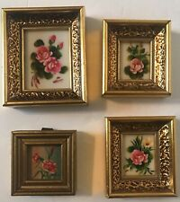 Miniature Oil Painting Floral pictures signed framed Lot of 4