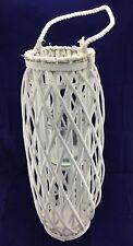 Willow Lantern Lamp Large Glass Candleholder Rope Handle Wicker Beach