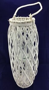 Lantern Willow Hurricane Lamp Large Glass Candleholder Rope Handle Wicker Beach