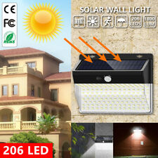 206 LED Solar Powered Wall Light PIR Motion Sensor Garden Security Outdoor