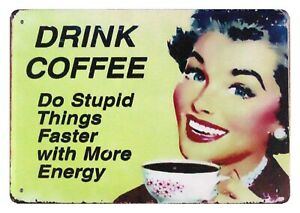 contemporary wall decor Drink Coffee office kitchen tin metal sign