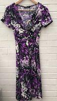 NEW Kaleidoscope Size 10 Dress V Neck Knot Front Short Sleeve Purple Black Print