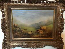 """Raro enumerados Victoriano artista George Cole """"montaña ovejas"""" Aceite Lienzo"""