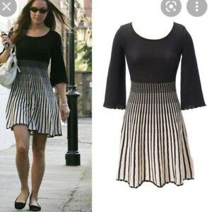 Knitted Fenn Wright Manson Dress Small Kate Middleton Black White Stripe.