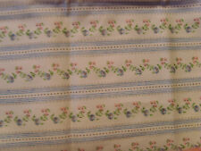 "19x28"" blue with pink daisy flowers vintage ticking fabric material cottage chic"
