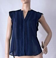 H&M SIZE 12 NAVY BLUE PINTUCK PLEATED BLOUSE BNWT