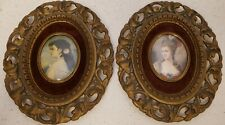 Cameo Set of 2 Pic Frame Mme. Adelina Patti by G. Leveen & Madame de Pompadour