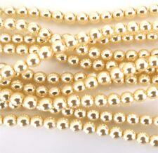 Color Blanco Crema 4mm ronda granos checas de VIDRIO PERLADO de Pulido X 25