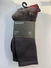 Timberland Men's 2 Pairs Original Wool Blend Crew Socks OSFM Gray and Red Color