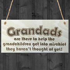 Grandads Mischief Funny Grandchildren Wooden Hanging Plaque Grandpa Gift Sign