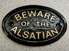 ALSATIAN BEWARE HOUSE DOOR PLAQUE DOG SIGN COLLAR LEAD