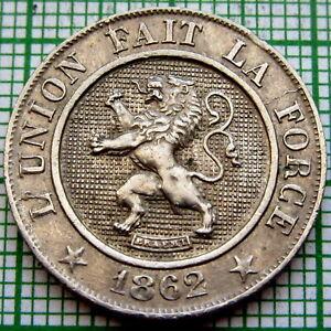 BELGIUM LEOPOLD I 1862 10 CENTIMES, BETTER GRADE