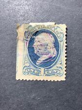 Scott #206 US Postage Stamp Franklin 1 Cent Slate Blue #17