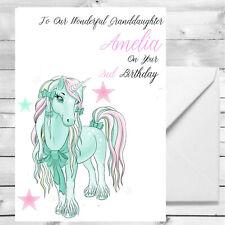Personalised Cute Unicorn Birthday Card 1st 2nd 6th Girls Grandaughter Niece