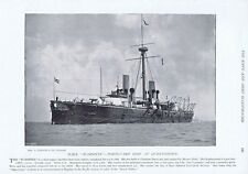 HMS Warspite Portguard Ship at Queenstown - Antique Photographic Print 1896