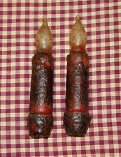 """2~4"""" Burgundy Battery LED Timer Taper Candles Rustic Primitive Country Home"""