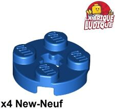 Lego - 4x Plate Round plaque ronde axle hole 2x2 bleu/blue 4032 NEUF