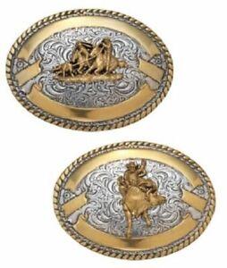 Bullrider - Team Roper ~ WESTERN BELT BUCKLE ~ Oval CRUMRINE Silver Gold Ribbon