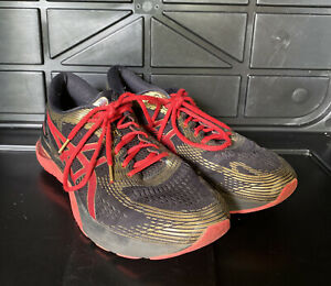ASICS Gel-Nimbus 21 Black Classic Red 1011A257 Used Men Size 12 Running Shoes