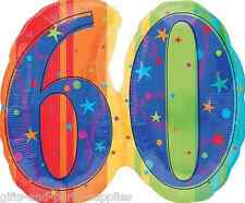 Celebrate Sixty 60 Number Foil Balloon Sixtieth 60th Birthday Party Supplies