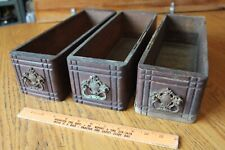 3 Antique Wooden Singer Sewing Machine Drawers with Vintage Brass Handle Pulls