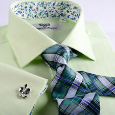 Lime Green Herringbone Formal Business Dress Shirts Mens Checkered Boss Style A+