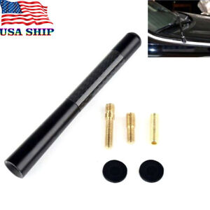 "4.7"" CARBON FIBER BLACK SHORT AM/FM RADIO ANTENNA FOR Toyota Chevy Nissan"