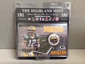 The Highland Mint Green Bay Packers Aaron Rodgers Silver Plated Medallion/Coin!