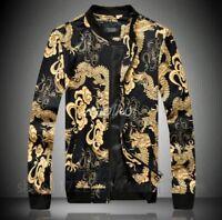 Mens Chinese Dragon Printed Sand collar Bomber BF Baseball Coat Jacket Casual sz