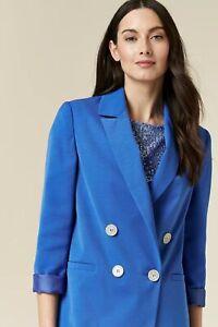 Wallis Womens Blue Double Breasted Blazer Jacket Roll Sleeve Casual Formal
