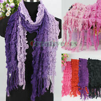 Women Fashion Gradient Striped Shine Wire Tassel Stretchy Crinkle Long Scarf New
