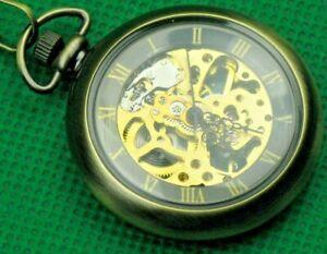 """Pocket Watch """"Double Hunter Open Works"""" + Chain, Modern Bronze Looks, Glass Lid!"""