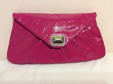 CLUB MONACO Pink Patent Leather Oversize Envelope Clutch Jewel Clasp Clean