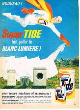PUBLICITE ADVERTISING 054  1966  TIDE  lessive pour machine à laver & lessiveuse