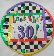 """NEW 18"""" 30th Birthday Mylar Foil Balloon Multi-Colored Look Who's 30!"""
