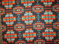 Navajo Indian Multi II  Orange Teal Cream Black Print Cotton Fabric FQ